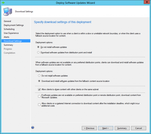 Using Microsoft Update as a source when content is not on the configured Distribution Point