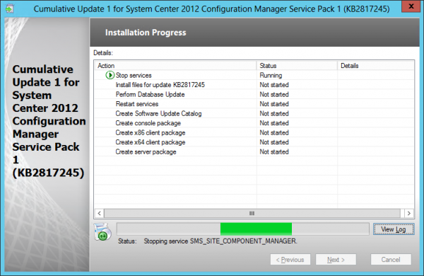Installing the Cumulative Update 1 for Configuration Manager 2012 SP1
