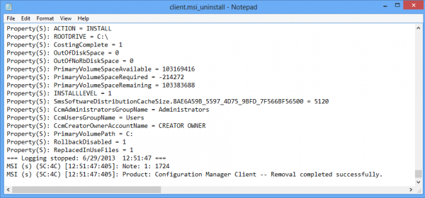 Configuration Manager client is removed successfully