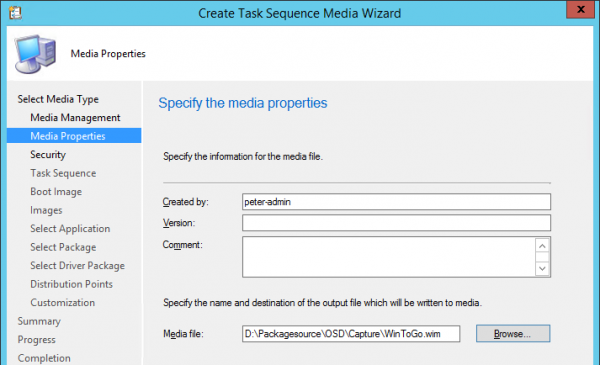 Create tte task sequence media