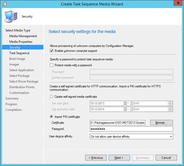 Configure the security options
