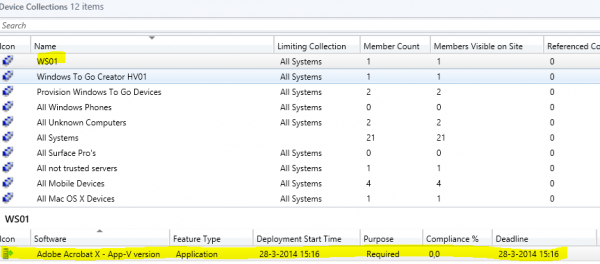 Collection WS01 and deployment is created by RES Workspace Manager 2014