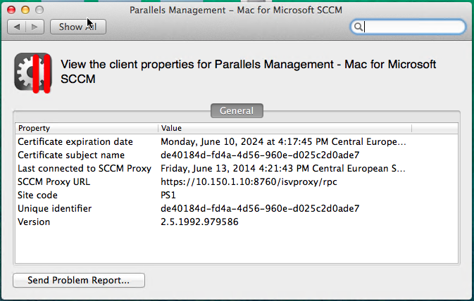 The Parallels Configuration Manager client