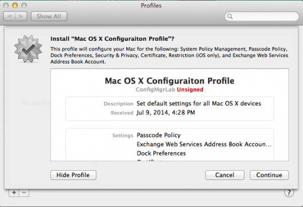Install the Configuration Profile?