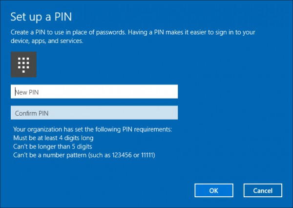 Configure the PIN according the settings in Intune